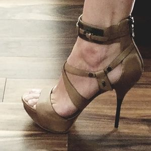 Sexiest heels ever, taupe with nickel hardware